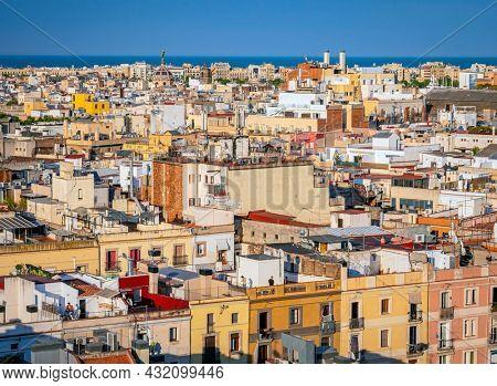 BARCELONA, SPAIN -JUN 10 -2021:Panorama of Barcelona in summer