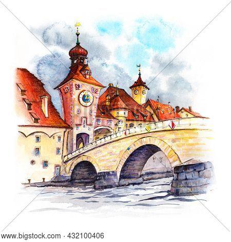 Watercolor Sketch Of Old City Gate And Stone Bridge, Stadtamhof, Regensburg, Eastern Bavaria, German