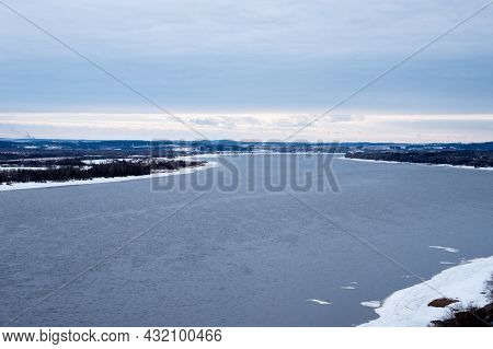 Water Winter Landscape With Big River At Spring Time