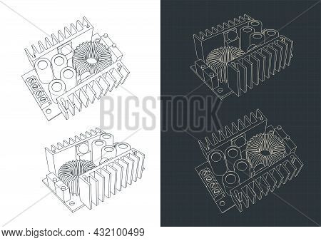 Stylized Vector Illustration Of Blueprints Of Buck Converter Step-down Power Supply Module