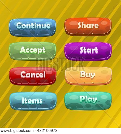 Colorful Buttons For Games Or Web, Gui-ui Elements. Buttons. Set Of Colorful Buttons