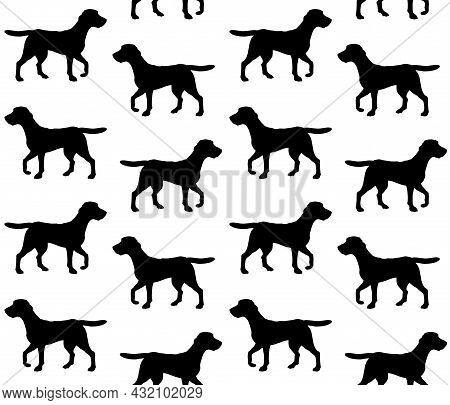 Vector Seamless Pattern Of Hand Drawn Beagle Dog Silhouette Isolated On White Background