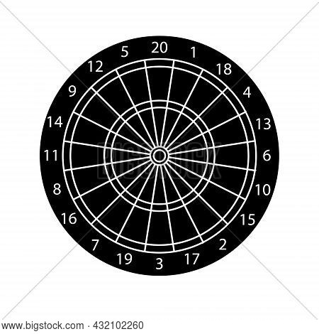 Vector Flat Black Darts Board Target Isolated On White Background