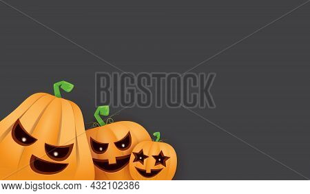 Halloween Horizontal Web Banner Or Poster With Halloween Scary Pumpkins Isolated On Grunge Grey Wall