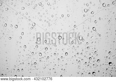 Water Drops On Glass. Rain Drops On The Window. Background With Drops On Glass