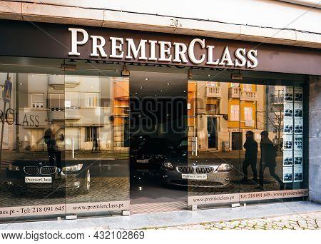 Lisbon, Portugal - Feb 8, 2018: Premier Class Luxury Auto Seller Renting Car Showroom In Lisbon With