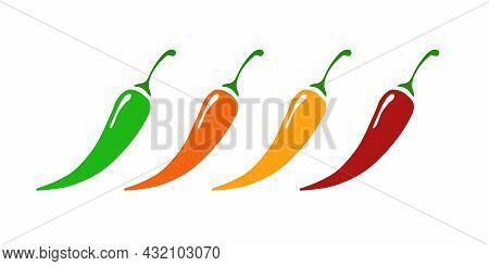 Chilli Pepper Set Different Level - Mild, Hot, Extra Hot Isolated On Background. Pepper Sauce With F