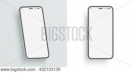 Vector Smartphone Mockup With Blank Screen To Showcase Your Design. Modern Mobile Phone At Different