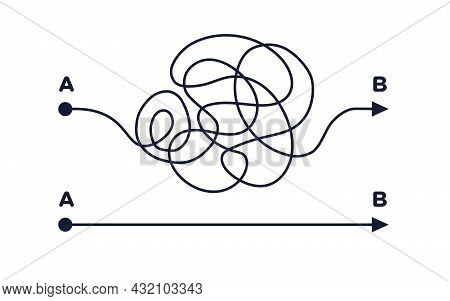 Chaos And Easy Simple Way From Point A To B. Business Metaphor. Searching Solution Problem Concept.