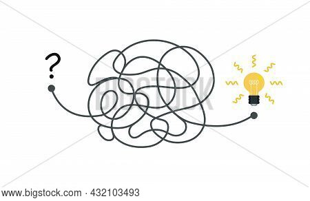 Way From Start To Idea Concept Illustration. Chaos Simplifying, Problem Solving And Business Solutio