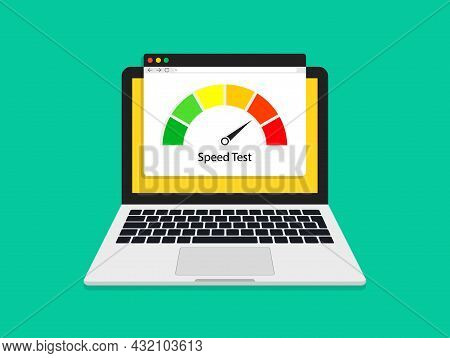 Test Of Speed Internet In Laptop. Fast Speed Of Download. High Mbps Internet Performance. Website Wi