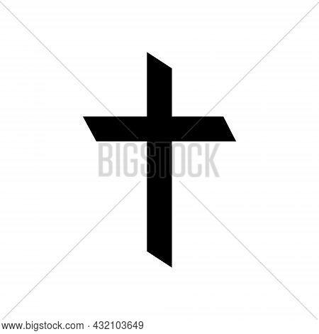 Cross Of Christian Crucifix. Icon Of Christian Cross. Symbol Of Church Of Jesus. Sign Of Catholic, R