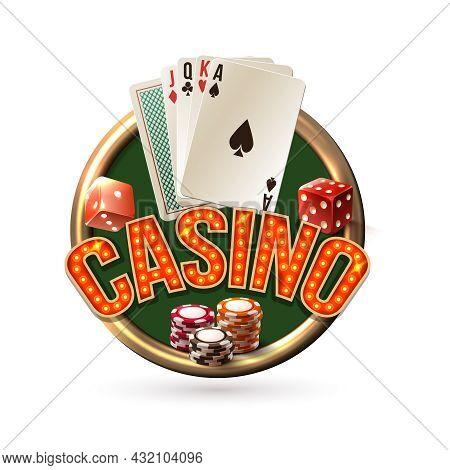 Pocker Casino Gambling Risk Chance Emblem With Dice Cards Chips Vector Illustration.