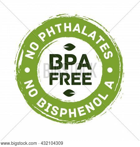 Bpa Free Vector Certificate Label -no Phthalates And No Bisphenol A For Safe Food Package Stamp, Che