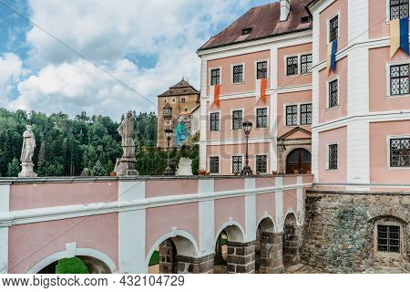 Becov Nad Teplou,czech Republic-august 21,2021.gothic Medieval Castle,renaissance Palace,baroque Cha