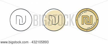 Icons Of The Israeli Shekel. Painted Shekel Symbol. World Currency Icons. Vector Illustration