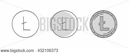 Litecoin Icons. Litecoin Symbol Drawn. World Currency Icons. Vector Illustration