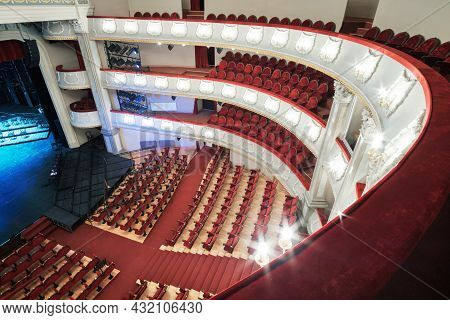 Batumi, Georgia, April, 5, 2021: Batumi Drama Theater. The Interior Of The Hall  With Red Chairs And