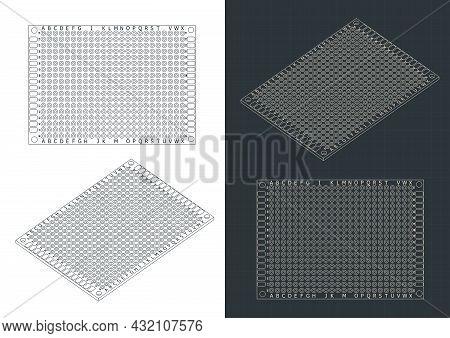 Stylized Vector Illustration Of Blueprints Of Universal Prototype Board
