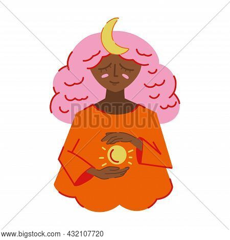 Woman With Magic Sphere. Vector Witch Illustration With Moon Om Head. Halloween Clip Art