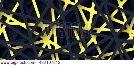 3d Realistic Backdrop With Cut Out Yellow And Black Color Stripes Entangled Web. Abstract Background