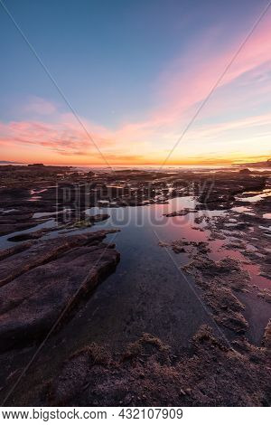 Botanical Beach On The West Coast Of Pacific Ocean. Summer Sunny Sunset. Canadian Nature Landscape B