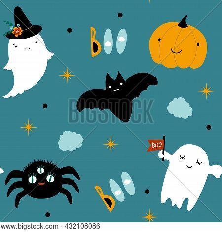 Vector Seamless Pattern For Halloween Cute. Ghost, Pumpkin, Spider, Boo On Halloween Theme. Vector F