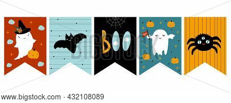 Funny Hand Drawn Halloween Vector Bunting. White Ghosts, Black Bat And Spider. Hand Written Happy Ha