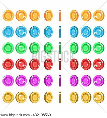 Sprites Of A Spinning Coin, 6 Colors. Coin Animation Asset. Coin Cartoon Animation
