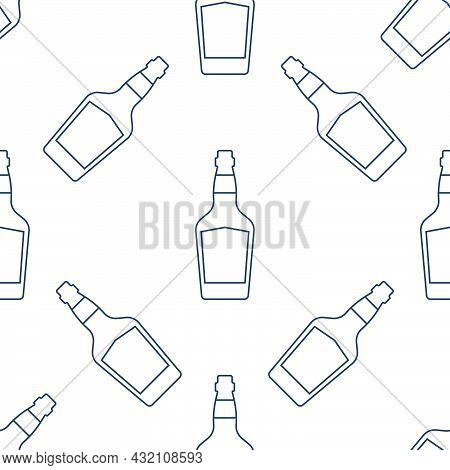 Whiskey Bottles Seamless Pattern. Line Art Style. Outline Image. Black And White Repeat Template. Pa