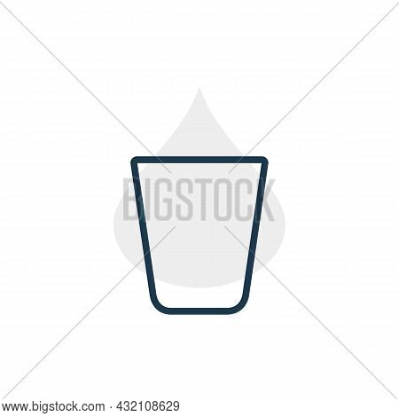 Modern Abstract Illustration With Glass Vodka With Color Blob. Linear Outline Sign. Logo Illustratio
