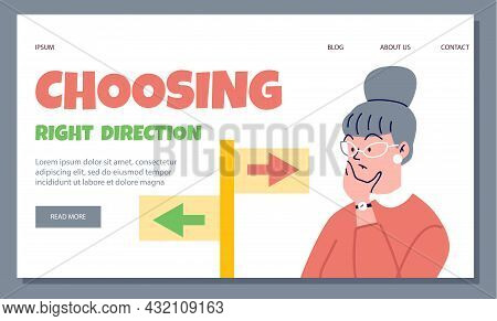 Web Template For Website With Flat Cartoon Illustration Of Thoughtful Woman Who Chooses Right Direct