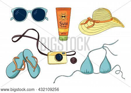 Hand Drawn Vacation Items Collection. Sunglasses Bikini, Flip Flops, Photo Camera, Sunscreen Tube, W