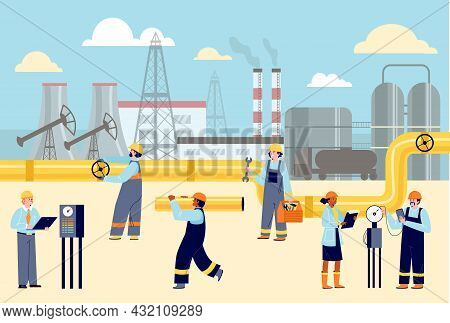 Workers In Helmets And Uniforms At Oil Production Plant. Vector Flat Cartoon Illustration Of Factory