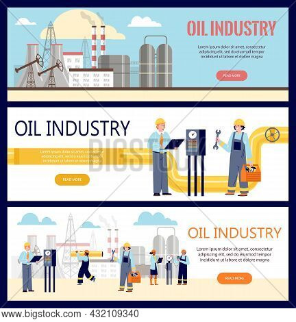 Set Of Backgrounds For Web Templates For Oil Industry. Collection Of Vector Flat Cartoon Illustratio