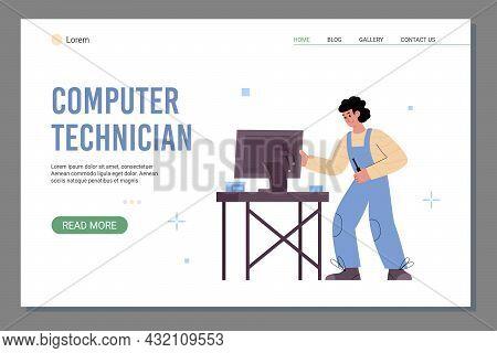 Computer Technician Website With Repairman In Workshop, Vector Illustration.