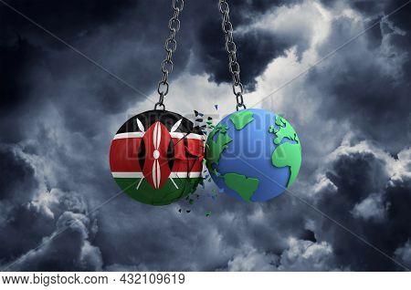 Kenya Flag Ball Smashing Into Planet Earth. Global Impact And Disaster Concept. 3d Render