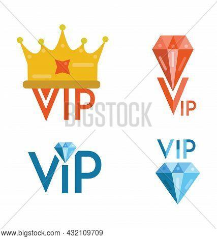 Vip Flat Design Logos. 4 Vip Logos. Crown And Diamonds Icon