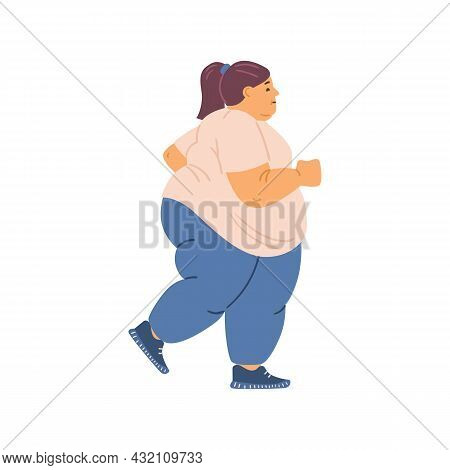Overweight Fat Woman Running Or Jogging, Flat Vector Illustration Isolated.
