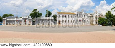 July 8, 2021: Panorama Of The Central Street Of The City Of Yevpatoria With The City Hall. Yevpatori