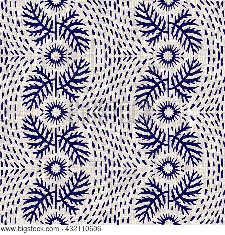 Indigo Blue Flower Block Print Dyed Linen Texture Background. Seamless Woven Japanese Repeat Batik P