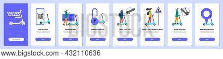Electric Scooter Sharing Mobile App Onboarding Screen Set. Eco Transport Rental Service Instruction