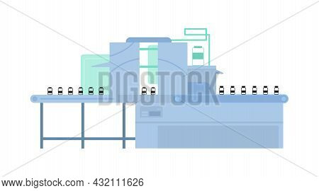 Automated Line For Mass Vaccine Covid-19 Production On Pharmaceutical Factory.