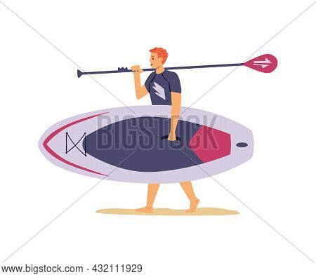 Man Carrying Wide Paddle Board And Paddle, Flat Vector Illustration Isolated.