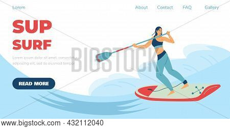 Sup Surf Or Stand Up Paddling Website With Surfing Woman, Vector Illustration.