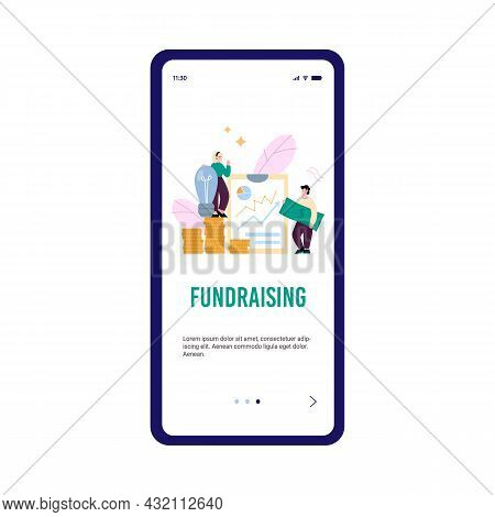 Fundraising And Support Of Startup Mobile Screen, Flat Vector Illustration.