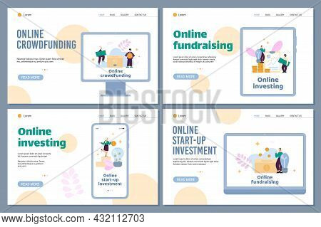 Online Investing And Crowdfunding Website Pages, Flat Vector Illustration.