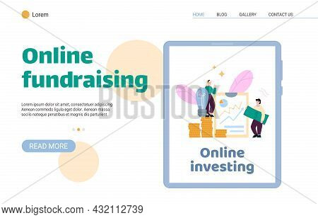 Online Fundraising And Investments Site Or Web Page, Flat Vector Illustration.