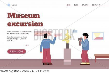 Vector Web Banner For Ads About Museum Or Art Gallery Excursion.