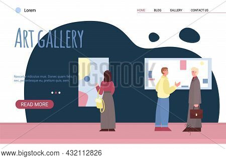 Vector Web Banner For Display Of Artworks At Museum Or Art Gallery.